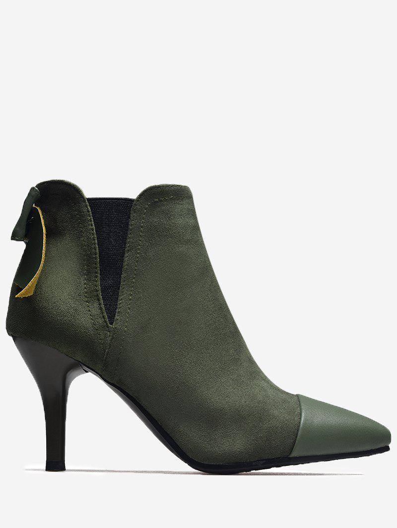 Bow Pointed Toe Elastic Band Boots - ARMY GREEN 37