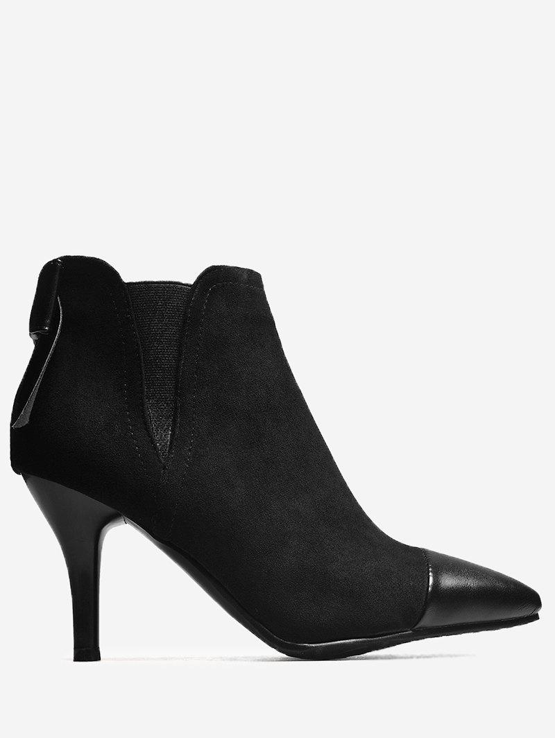 Bow Pointed Toe Elastic Band Boots - BLACK 39