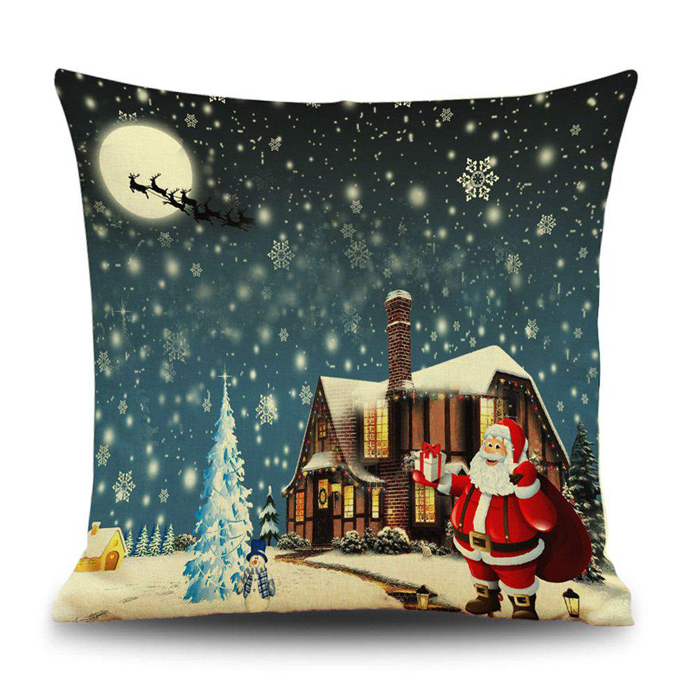 Snowy Christmas Night Print Linen Sofa Pillowcase snowy christmas gifts print linen sofa pillowcase