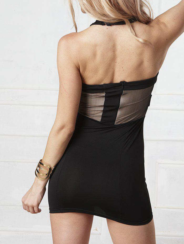 Halter Strappy Bodycon Dress - BLACK XL