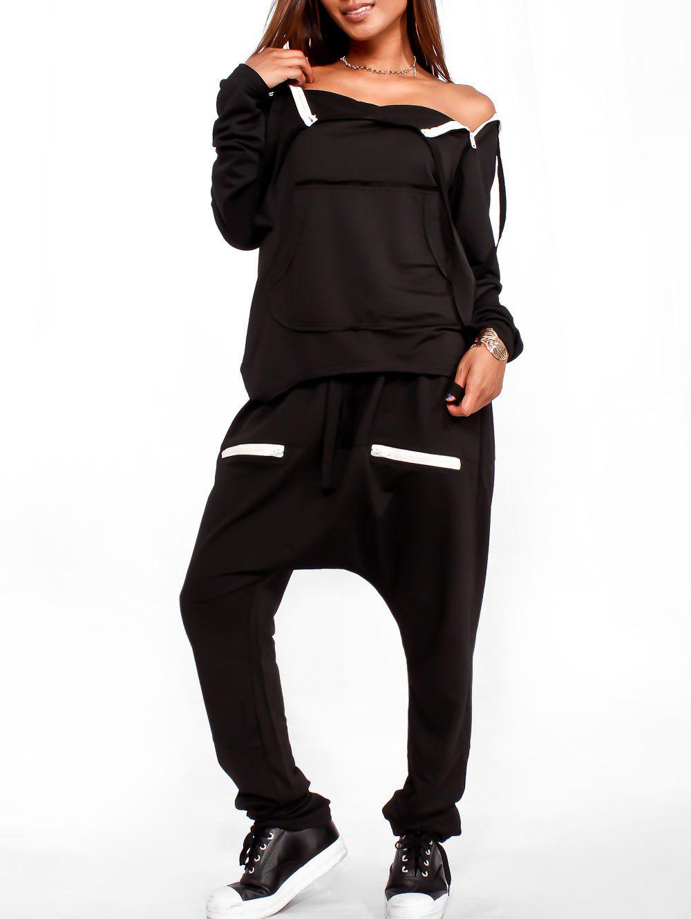 High Low Sweatshirt and Drawstring Pants - BLACK L