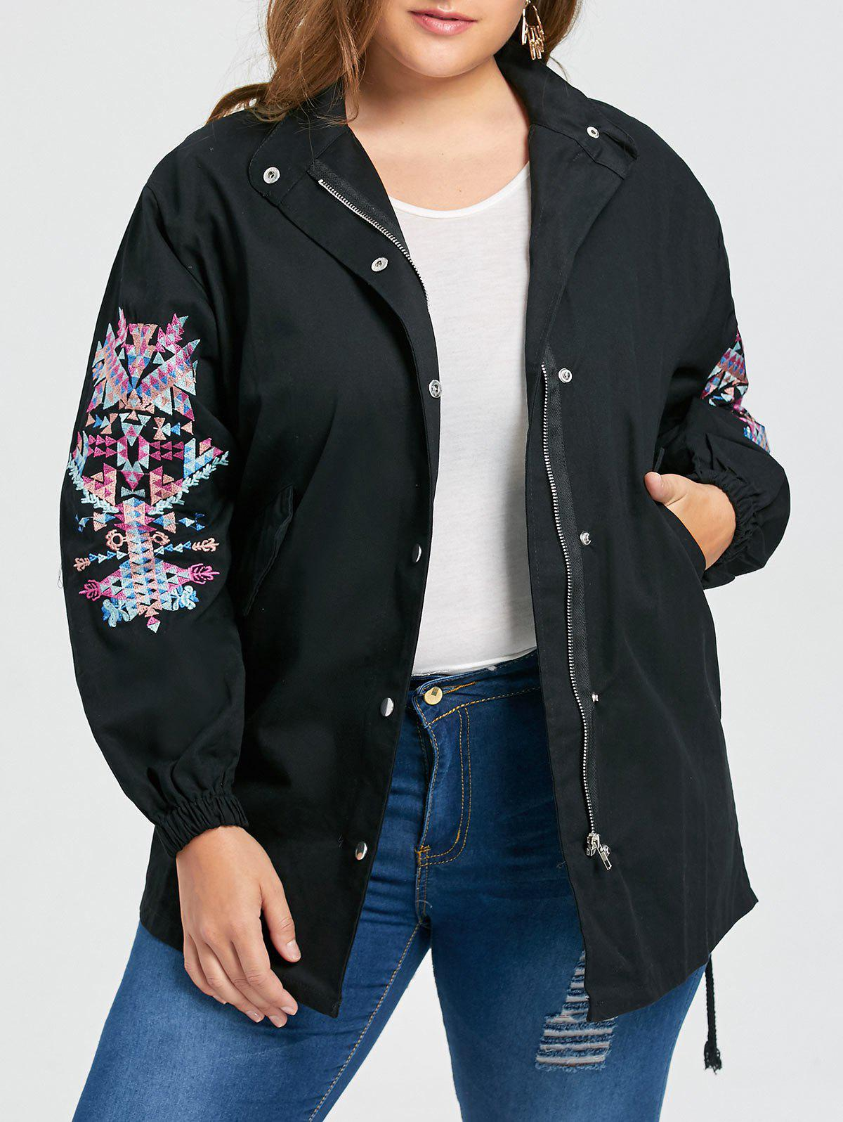 Plus Size Embroidered Patches High Low Coat - BLACK 4XL