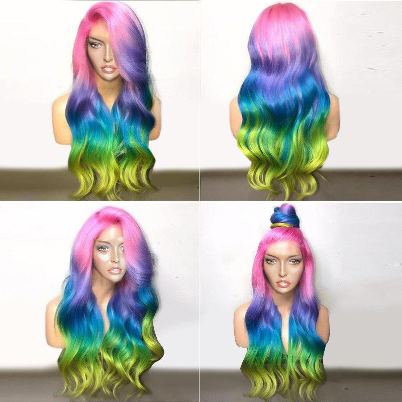 Long Deep Side Parting Colorful Wavy Ombre Synthetic Party Wig short ombre side parting wavy synthetic wig