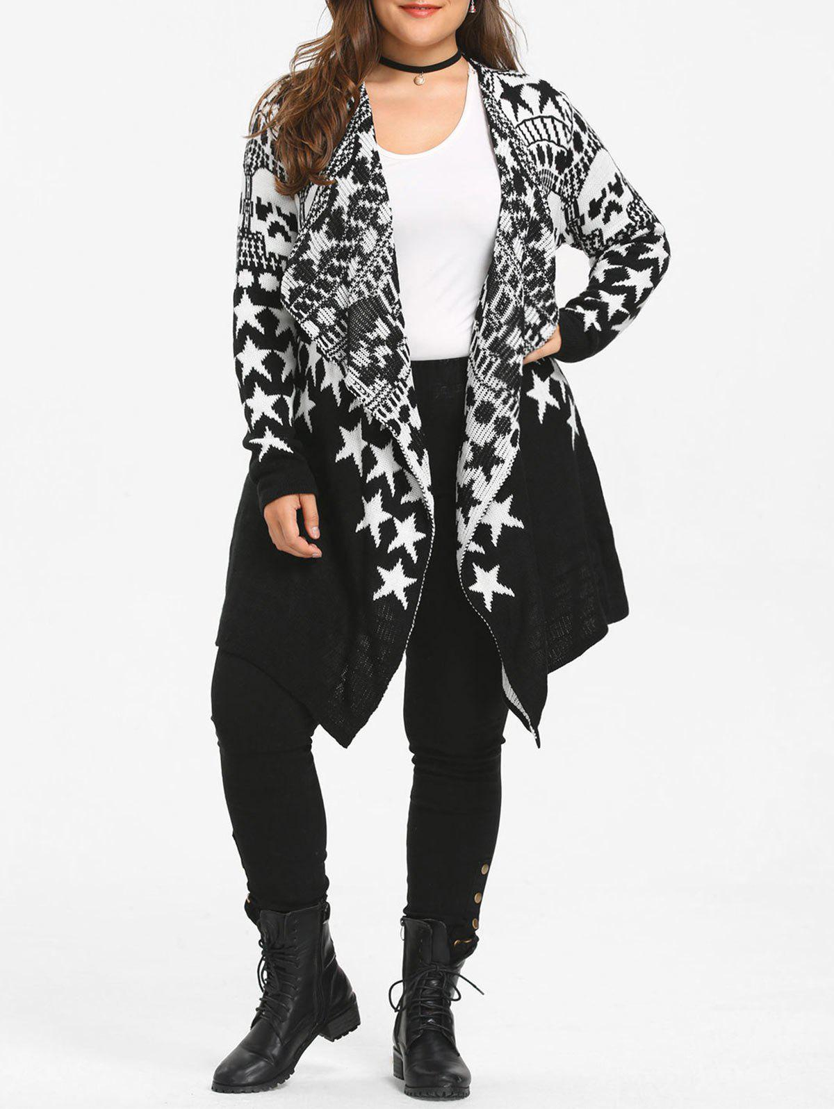 Star Skull Plus Size Sweater Drape Cardigan pair of graceful round faux pearl earrings for women
