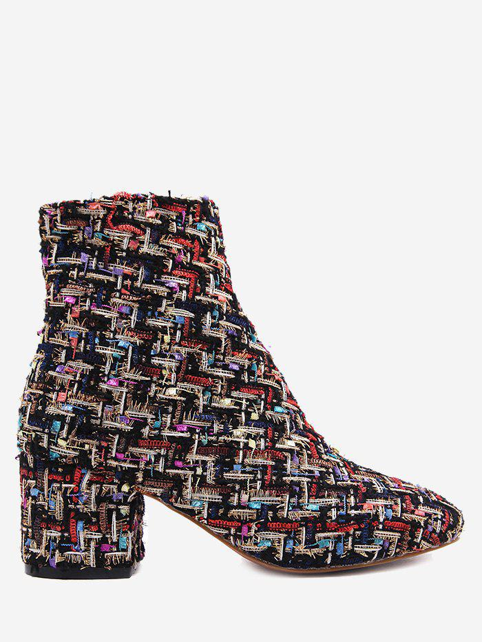 Mix Pattern Chunky Heel Ankle Boots - BLACK 39