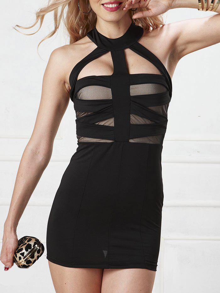 Halter Strappy Bodycon Dress - BLACK L