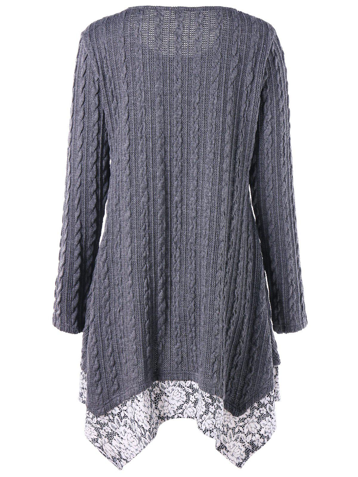 Floral Trimmed Cable Knitted Asymmetric Dress - GRAY L