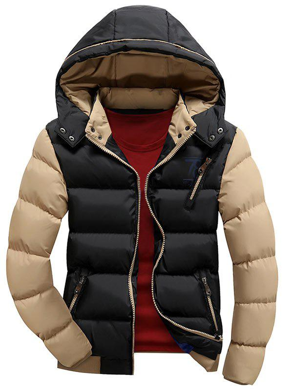 Color Block Detachable Hood Puffer Jacket - BLACK 3XL