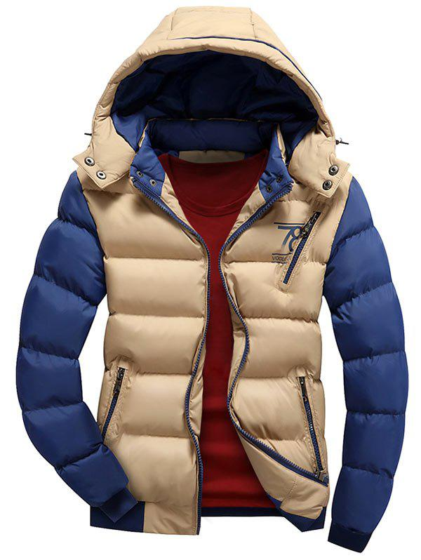Color Block Detachable Hood Puffer Jacket - KHAKI 3XL