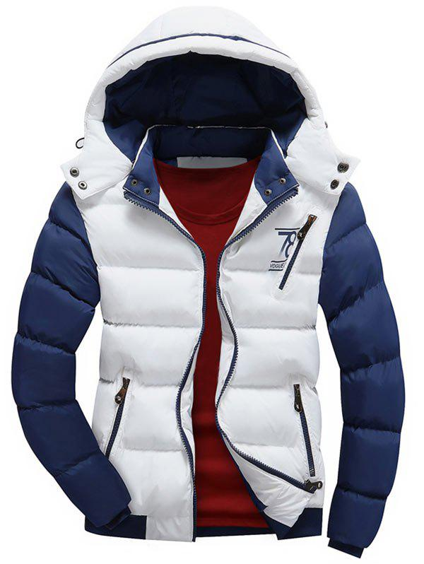 Color Block Detachable Hood Puffer Jacket - WHITE 2XL