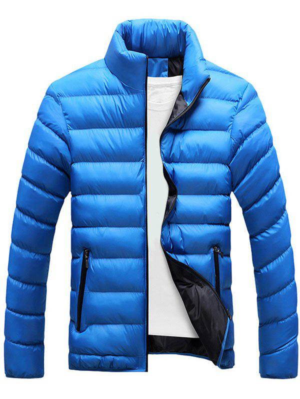Zipper Up Stand Collar Puffer Jacket - BLUE 4XL