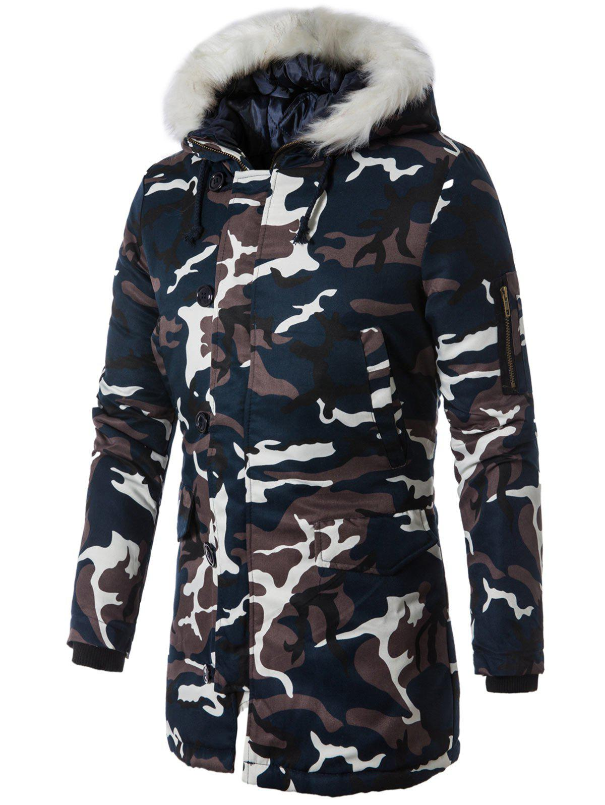 Zip Up Faux Fur Hooded Camo Coat - PURPLISH BLUE 2XL