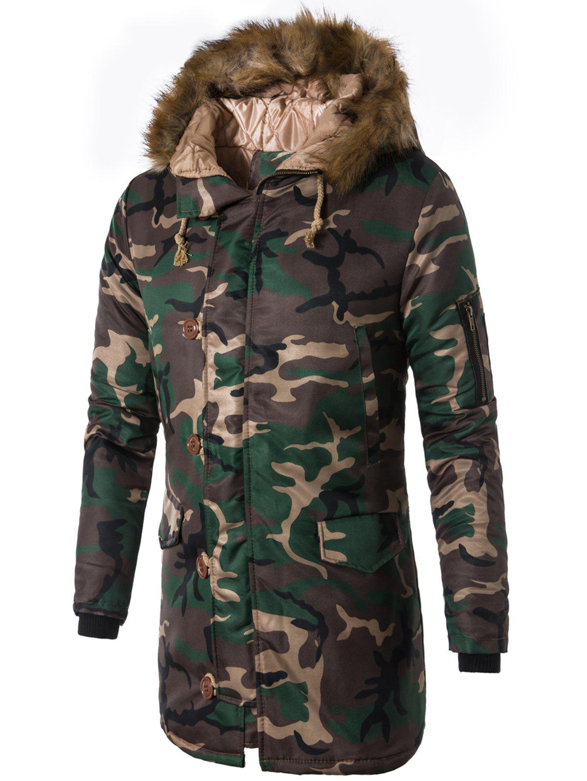 Zip Up Faux Fur Hooded Camo Coat - GREEN L