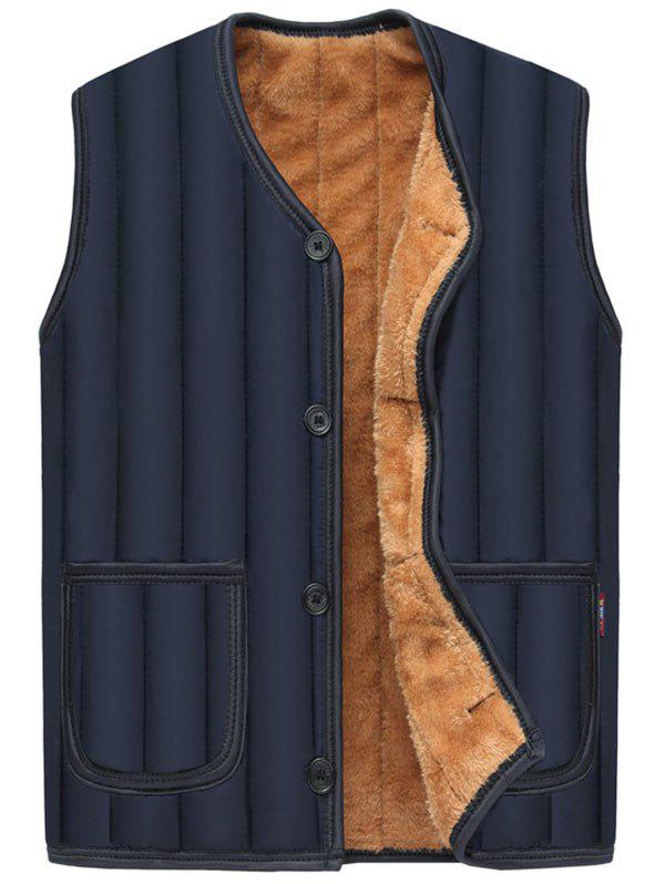 Button Up Pockets Flocking Padded Vest - PURPLISH BLUE 2XL