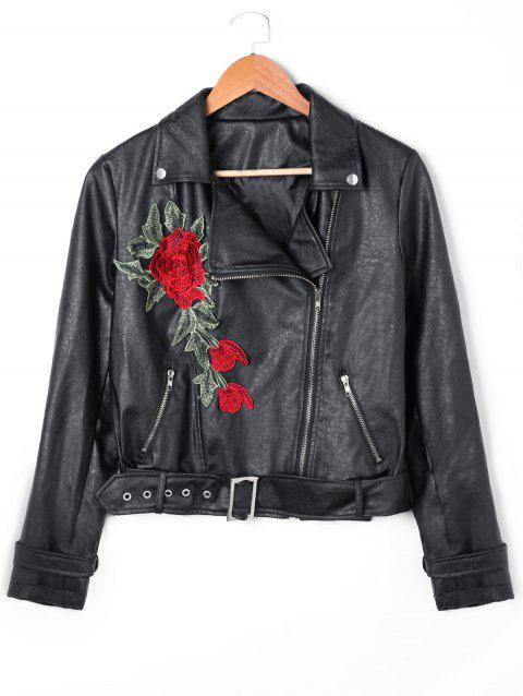 Floral Embroidered Zip Fly PU Leather Jacket - BLACK L