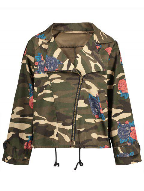 19a90675b5881 Plus Size Camo Floral Print Inclined Zipper Jacket - ACU CAMOUFLAGE 4XL