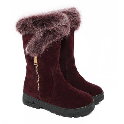 Side Zip Buckle Strap Mid Calf Boots - WINE RED 37
