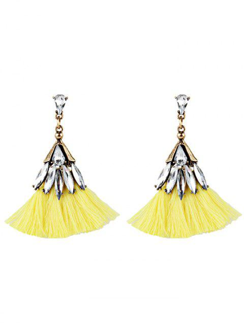 Vintage Crystal Decorated Fan Shape Fringed Drop Earrings - YELLOW