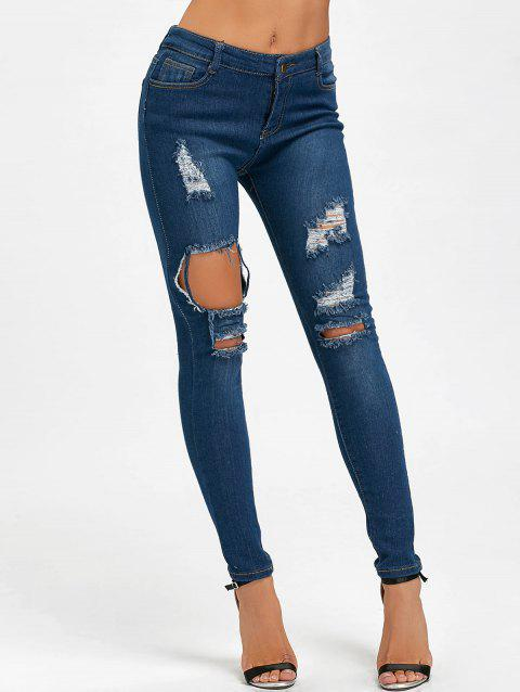Skinny High Waisted Ripped Distressed Jeans - BLUE M