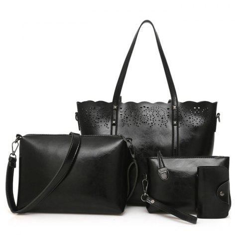 4 Pieces Laser Cut Out Shoulder Bag Set - BLACK