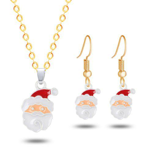 Christmas Santa Earrings and Necklace - GOLDEN