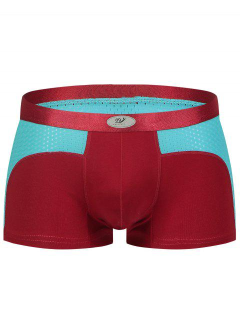 Openwork Color Block Panel U Convex Pouch Boxer Brief - CLARET XL