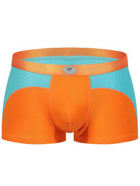 Openwork Color Block Panel U Convex Pouch Boxer Brief - ORANGE L