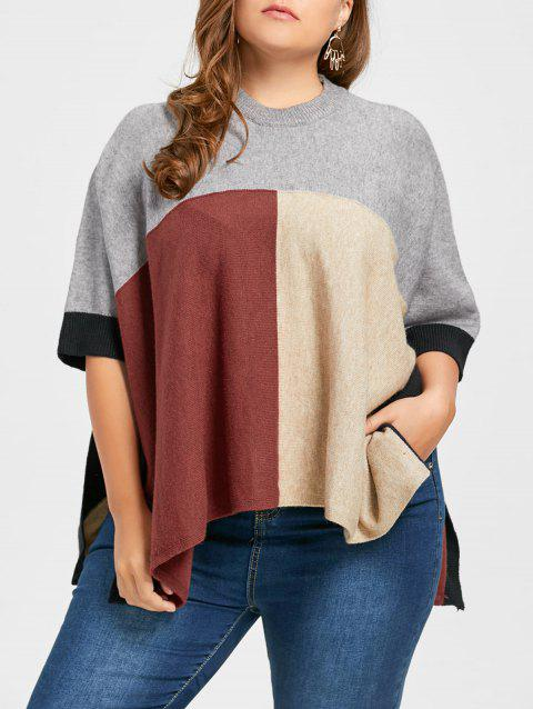 Plus Size Slit Color Block Poncho Sweater - multicolorCOLOR ONE SIZE