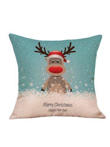 cartoon christmas deer print linen sofa pillowcase