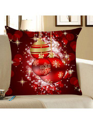 christmas snowflakes balls print throw pillow case