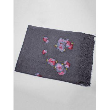 Retro Floral Embroidery Ethinc Style Fringed Scarf - DEEP GRAY DEEP GRAY