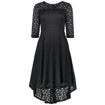 Lace Crochet High Low Midi A Line Dress - BLACK 2XL