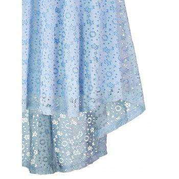 Lace Crochet High Low Midi A Line Dress - CLOUDY S