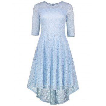 Lace Crochet High Low Midi A Line Dress - CLOUDY CLOUDY