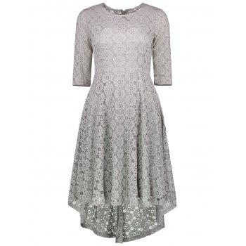 Lace Crochet High Low Midi A Line Dress - GRAY GRAY