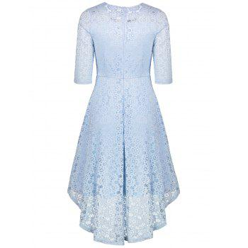 Lace Crochet High Low Midi A Line Dress - CLOUDY XL