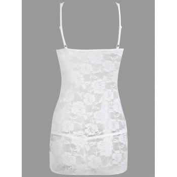 Lace Ruched Sheer Slip Dress - WHITE WHITE