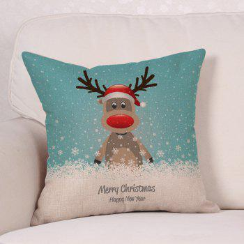 Cartoon Christmas Deer Print Linen Sofa Pillowcase - COLORMIX W18 INCH * L18 INCH