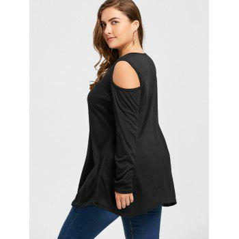 Cold Shoulder Asymmetrical Plus Size T-shirt - BLACK 3XL