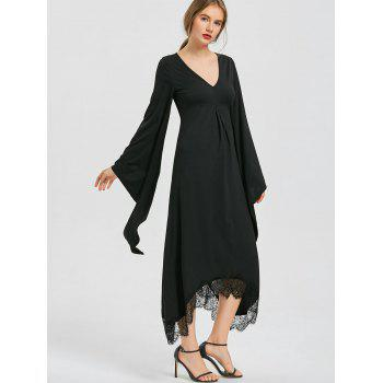 Halloween V Neck Flare Sleeve Longline Dress - BLACK L