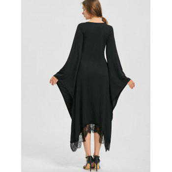 Halloween V Neck Flare Sleeve Longline Dress - BLACK 2XL