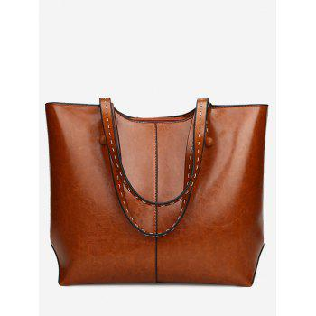 PU Leather Whipstitch Shoulder Bag - BROWN BROWN