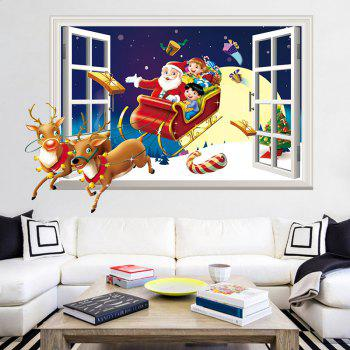 3D Christmas Sled Santa Claus Pattern Window Wall Art Decal