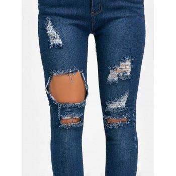 Skinny High Waisted Ripped Distressed Jeans - BLUE S