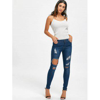 Skinny High Waisted Ripped Distressed Jeans - BLUE XL