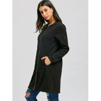 Long Zip Up Coat - Noir L