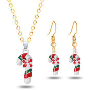 Christmas Candy Cane Bows Necklace and Earrings