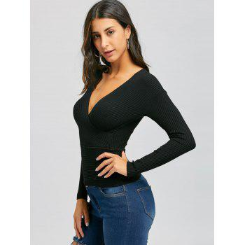 Plunging Neckline Ribbed Surplice Sweater - BLACK ONE SIZE