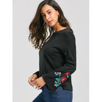 Embroidery Flare Sleeve Sweater - BLACK M