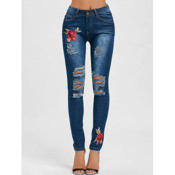 High Waisted Rose Embroidered Ripped Jeans - BLUE L